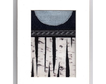 Mini Patchwork Collage Blue Moon White Birch Forest Crazy Quilt Style Ready to Frame