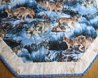 """Quilted Octagon Table Topper in a Wolves Pattern - 22"""" diameter"""