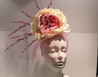 Pink Fascinators -Large Derby Fascinator- Derby Fascinator- Kentucky Derby Fascinator -Veil Fascinator- Wedding Hat- Large fascinator- Hat
