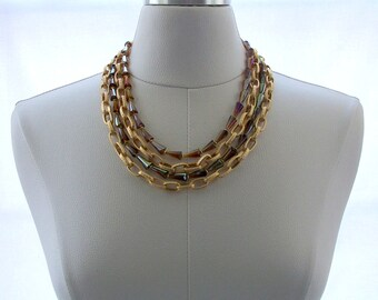 Multi Strand Necklace Chain Necklace Gold Jewelry Brown Crystal Jewelry Jewellery Modern Fashion Statement Necklace Classic Matte Gold