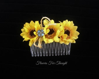 Sunflower Haircomb, Hair Accessory, Flowergirl, Bride Hairstyle, Rustic, Fall Woodland Wedding, Bridesmaid Gift, FFT design, Made to order