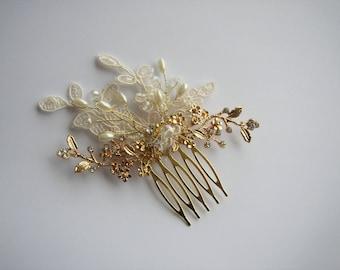 Gold Hair Comb, Wedding Hairpiece, Pearl Hair Comb, Wedding Hair Comb, Bridal Hair Comb, Vintage Lace Hair Piece, Small Hair Accessories