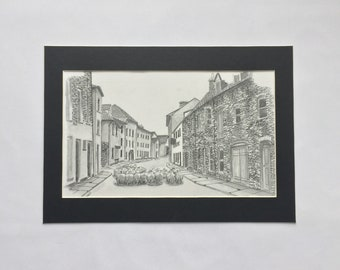 Castle Street 1962, Abergavenny. pen and ink illustration. A4 black and white print
