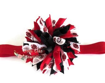 Atlanta Falcons Baby Korker Hair Bow/Korker Bows/Girls Headbands/Red and Black Hair Barrette/Curly Bow Headband/Football Hairbows