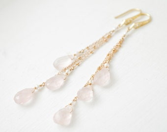 Long Rose Quartz Earrings, 14kt Gold-Fill Blush Earrings, Blush and Gold Earrings, Gold Jewelry