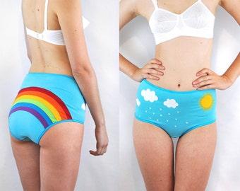 Rainbow panties with clouds, rain and sun lingerie underwear