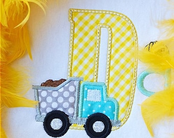 Personalized Dump Truck Initial Applique Shirt or Bodysuit Girl