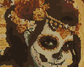Sugar Skull Lady Day of the Dead counted Cross Stitch Pattern