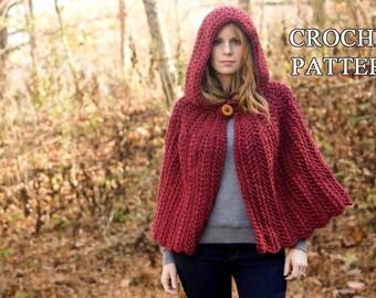 CROCHET PATTERN Hooded Cape Pattern, Crochet Cloak Pattern, Red Riding Hood Capelet, Instant Download