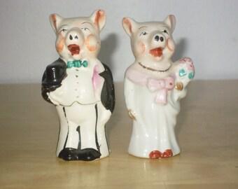 Pair Pig Bride and  Groom Salt & Pepper Shakers 1940s