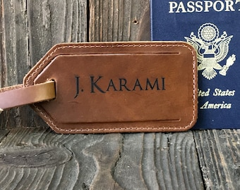 Personalized Luggage Tag - Pull-up Saddle Tan