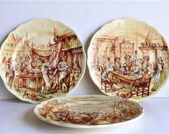 Vintage Decorative Plates, Typical French Village Scenes,  Sarreguemines France, BIRTHDAY GIFT,