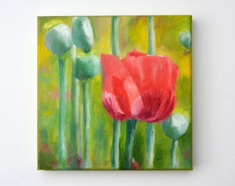 Small Oil Painting. Flowers Painting. Abstract flowers art. Wall art. Canvas painting. Poppy flower painting. Daily Painting. Gift for her.