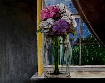 Flowers On a Windowsill Acrylic Painting