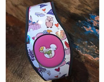 Character Collage Magic Band Decal | For Original 1.0 and 2.0 Magic Bands | RTS Ready To Ship | Fits Adult & Child Bands | Glitter Available