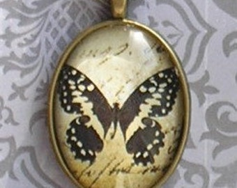 Vintage ephemera shabby chic butterfly pendant NECKLACE in ANTIQUE BRASS