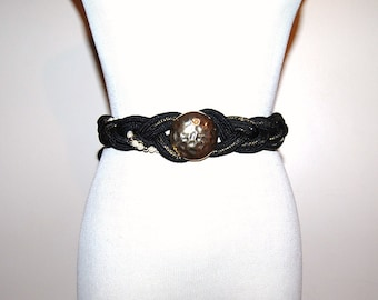 Vintage Belt Black Wrap with Pearls