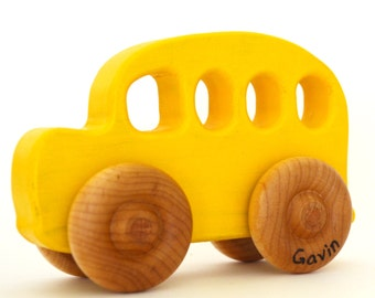 Wooden Toy School Bus - Personalized Wood Toy - Push Toy - Waldorf Toddler Toy