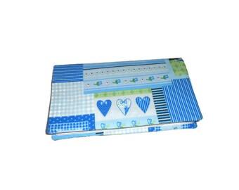 Checkbook blue hearts fabric