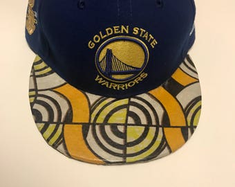 Custom brim NBA Golden State Warriors fitted hat with African fabric