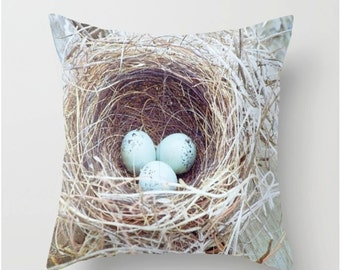 Bird Nest Throw Pillow - Photography Pillow - Home Decor - Wren Nest Pillow