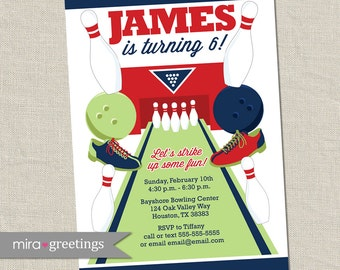 Bowling Birthday Party Invitation - Printable Digital File