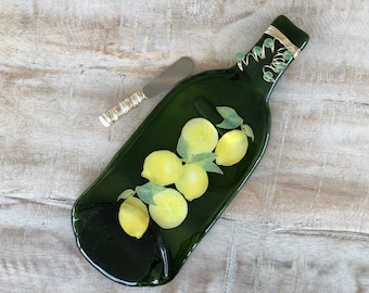 Lemons Melted Wine Bottle Cheese Tray / Wine Bottle Spoon Rest