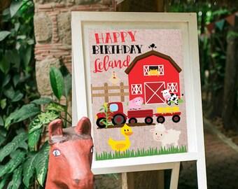 Farm Birthday Party Decor, Farm Birthday Welcome Sign, Farm Party Decorations, Barnyard Party Door Sign, Custom Farm Party Sign, GF006