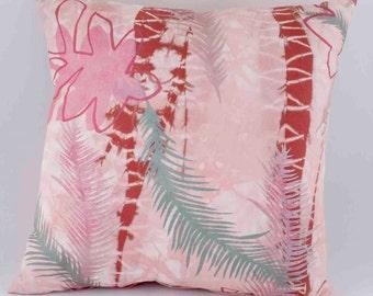 Pillow - Home Decor - Throw Pillow - Hand Dyed and Painted - Decorative Pillow - Silk - Art Pillow - Pink, Mauve, Seafoam Green- OOAK
