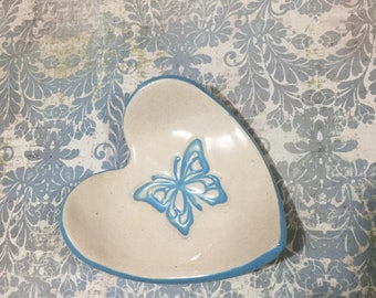 Heart bowl , Ceramic heart bowl, Ring dish, Rings bowl, Teabag holder, Jewelry dish, Valentine, Cookies plate, Butterfly , blue heart bowl