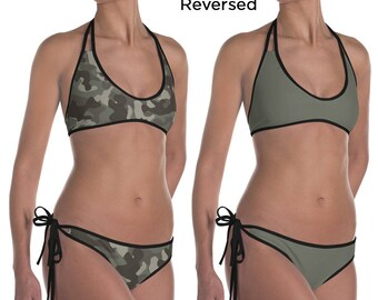 Camouflage Bikini Two Piece Camo Reversible Bathing Suit