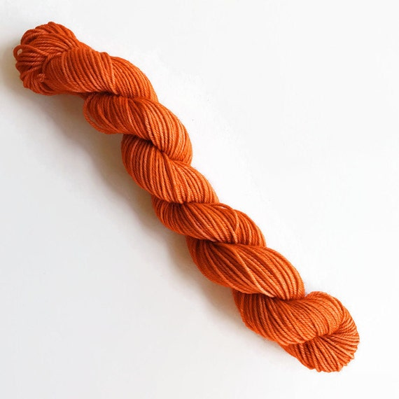 pumpkin spice / hand dyed yarn / mini skein / sock fingering yarn / merino wool superwash / knitting embroidery / pumpkin burnt orange yarn