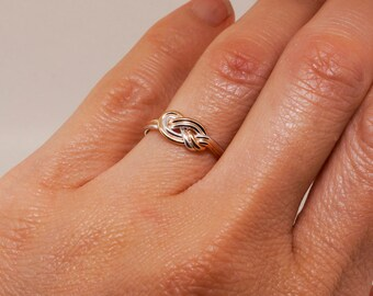 Solid Gold and Sterling Silver Climbing Knot Ring - Promise Ring for Her - Celtic Knot Ring - Infinity Ring - Eternity Ring