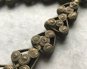 African Brass Four circleTriangle, African Beads, Lost wax beads, Brass Beads, Beads, African Beads, Brass,Beads from Ghana,