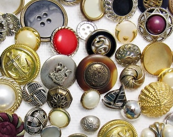 The Faux Metal / Metal-Coated Plastic Button Assortment: A Variety Mix of 75 Vintage to Contemporary Buttons