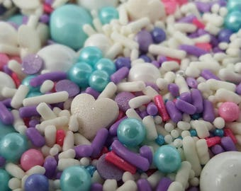 Ice Princess custom sprinkle mix, Frozen sprinkles, Cake sprinkles, Pink sprinkles, Cupcake sprinkles, Custom sprinkle mix, PJ Party