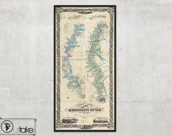 Vintage Wall map of Mississippi River by A. Persac, 1858 - interior map design, home decor - 122