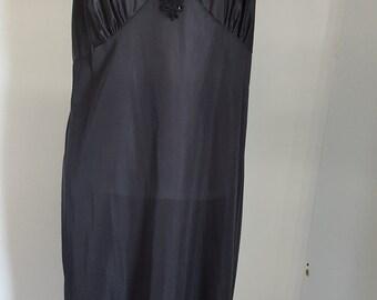 Vintage 1980s Perfectform Black Slip Ladies Sz 42 Lace Beads Sequins