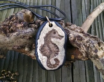 Seahorse Pendant, Polymer Clay, Beach, Sea Life, Fossil Look, Rustic, Unisex,