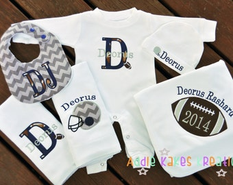 Personalized Football Themed Baby Gift Set / Sleeper, Cap, Blanket, 2 Burpcloths and Bib