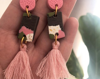 Blush, Olive and Grey Clay Earrings