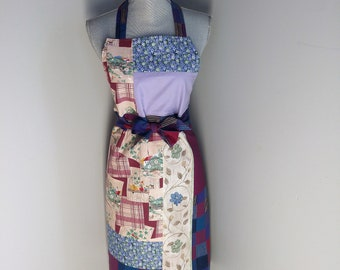 Unique, reversible, adjustable patchwork apron. Available: baby bib bandana matching 0-3 months (see other listing)