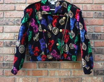 Vintage 80s High Fashion Carlisle Velvet Clock Highly Detailed Jacket Women's Size 6