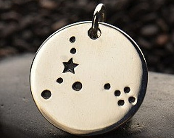 PISCES 925 Sterling Silver  Zodiac Constellation Disc - Add A Chain Option Avaliable - Insurance Included
