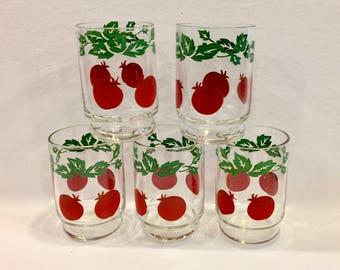 Vintage Swanky Swigs, Juice Glasses, 5 Tumblers, Red Tomato with Green Leaves and Vine Graphics, Jelly Glasses, Made in USA, Circa 1950s