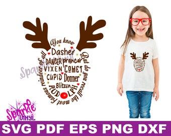 Reindeer svg, reindeer names, reindeer names svg, reindeer face svg, antler, SVG Files, SVG Christmas, for cricut, silhouette, Christmas svg