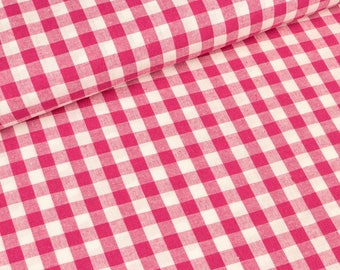 Cotton white - pink checkered 1cm (8.50 EUR / meter)