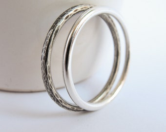 Sterling silver stacking rings, simple stackable rings, Set of Two