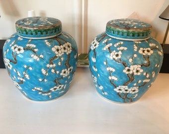 Vintage Asian Ginger Jars Blue and White Chinoiserie Jars Asian Vases Prunus Jars Chinese Jars Flower Vases Pair Chinese Jugs cherry blossom