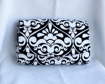Convertible Clutch Purse - Black and White Damask with Purple Lining
